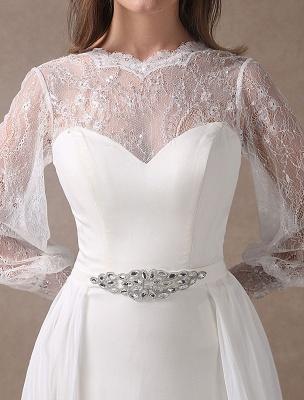 Weiße Brautkleider Langarm Spitze Chiffon Perlenstickerei Schärpe Illusion Strand Brautkleid Mit Zug Exklusiv_9