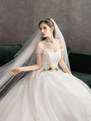 Spitze Brautkleider Elfenbein Spitze Applique Schulterfrei Kurzarm Prinzessin Brautkleid mit Zug_5