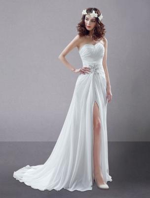 White Wedding Dress Strapless Twisted Split Rhinestone Chiffon Wedding Gown_3