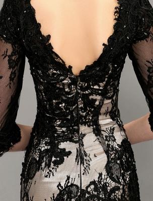 Black Wedding Dress Lace Mermaid V-Neck Dress With 3/4 Sleeves_8