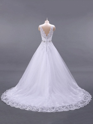 Brautkleider V-Ausschnitt Ärmellos A-Linie Spitze Verzierung Perlen Schärpe Brautkleider Mit Zug_3