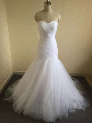 Robe de mariée col en cœur sans manches taille naturelle plissée train train robes de mariée_3