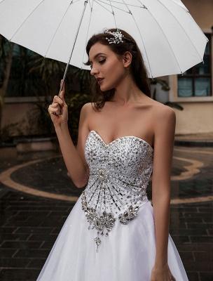 Customize Wedding Dress A-Line Sweetheart Neck Sleeveless Natural Waist With Train Bridal Dresses_4