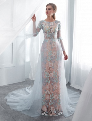 Colored Wedding Dresses Baby Blue Lace Long Sleeve Bridal Dress With Train_3