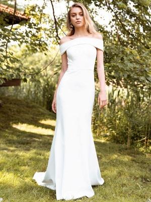 White Simple Wedding Dress Bateau Neck Sleeveless Natural Waist Backless Satin Fabric Long Mermaid Bridal Gowns_1