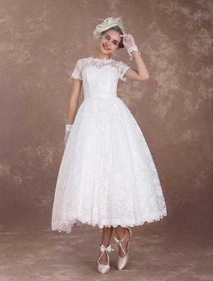 Lace Wedding Dresses Short Sleeve 1950'S Vintage Bridal Dress Sweetheart Illusion Ivory A Line Tea Length Wedding Reception Dress Exclusive_3