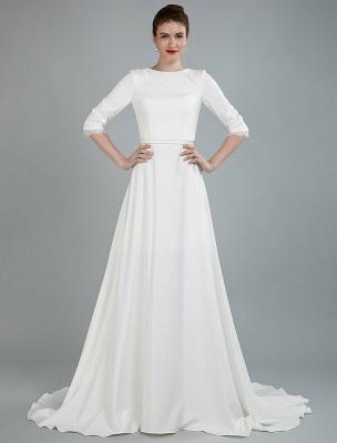 Einfache Hochzeitskleid Perlen Schärpe Rückenfrei Bateau-Ausschnitt Halbarm A-Linie Brautkleider Mit Hofzug Exklusiv_5