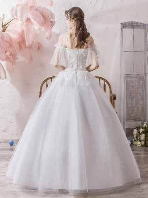 Ball Gown Wedding Dress Princess Silhouette Off The Shoulder Short Sleeves Natural Waist Floor Length Bridal Gowns_4