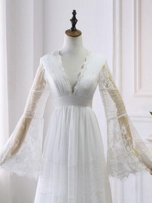 Boho Wedding Dresses 2021 A Line Deep V Neck Multilayer Lace Chiffon Beach Party Dress Bridal Gowns_5