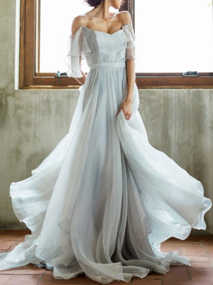 Wedding Dress A Line Off The Shoulder Sleeveless Pleated Court Train Chiffon Boho Bridal Gowns_1