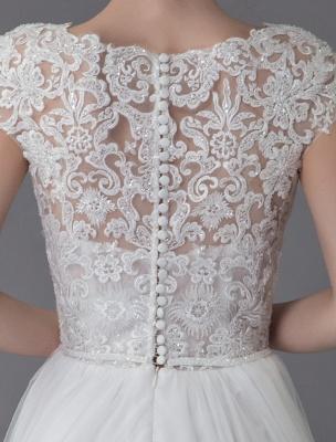 Strandhochzeitskleider Spitze Tüll Sommer A-Linie Elfenbein Luxus Perlen Sommer Brautkleider_10