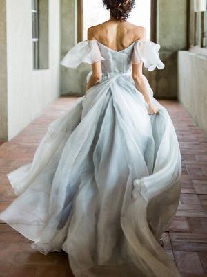 Wedding Dress A Line Off The Shoulder Sleeveless Pleated Court Train Chiffon Boho Bridal Gowns_3