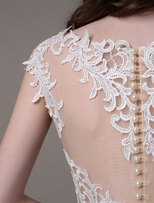 Vintage Wedding Dress Lace And Chiffon Sheath With Stunning Bateau Illusion Neckline And Illusion Back Exclusive_11