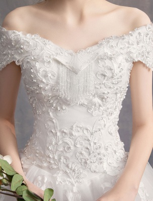 Ballkleid Prinzessin Brautkleider Elfenbein Spitze Perlenketten Schulterfrei Brautkleid_8