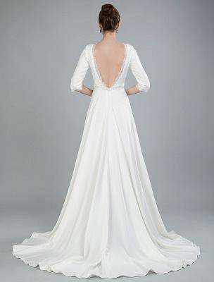 Einfache Hochzeitskleid Perlen Schärpe Rückenfrei Bateau-Ausschnitt Halbarm A-Linie Brautkleider Mit Hofzug Exklusiv_9