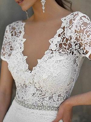 Einfache Brautkleid Meerjungfrau Spitze V-Ausschnitt Kurze Ärmel Perlen Schärpe Brautkleider Mit Zug_3