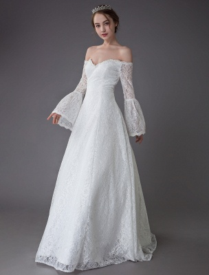 Princess Wedding Dresses Lace Off The Shoulder Long Sleeve A Line Floor Length Bridal Gown Exclusive_5