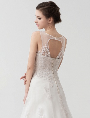 Sweep Ivory Lace Sweetheart A-Line Brides Wedding Dress With Adjustable Strap_8