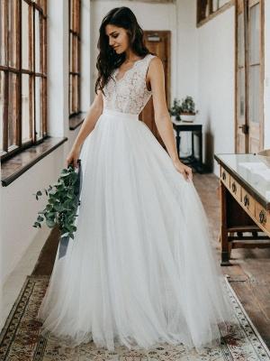 Simple Wedding Dress Tulle A Line V Neck Sleeveless Lace Floor Length Bridal Dresses_3