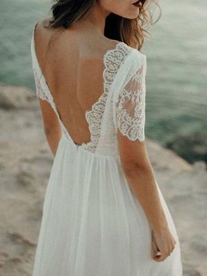 Einfache Hochzeitskleid A-Linie Jewel Neck Spitze Kurzarm Bodenlangen Chiffon Strandhochzeit Brautkleider_8