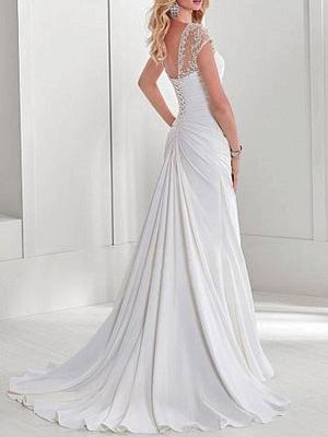 Einfache Brautkleid Lycra Spandex Schatz-Ausschnitt Kurze Ärmel Perlen Meerjungfrau Brautkleider_2