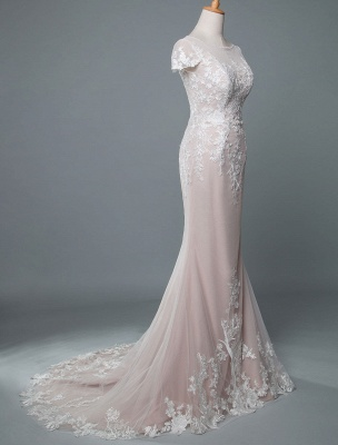 Simple Wedding Dress Mermaid Jewel Neck Short Sleeves Floor Length Customized Lace Bridal Gowns With Train_2