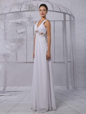 Empire Chiffon V-Ausschnitt Brautkleid mit Illusion Rücken und Blumenapplikation Exklusiv_5