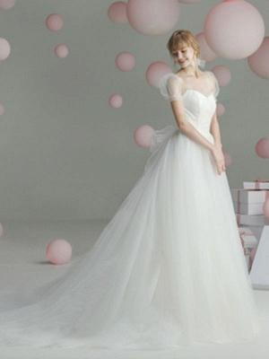 Ballkleid Brautkleid Prinzessin Silhouette Schatz-Ausschnitt Kurze Ärmel Baskische Taille Kapelle-Schleppe Brautkleider_2