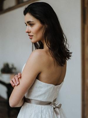 Einfache Brautkleider Brautkleider aus Spitze Trägerlose Brautkleider in A-Linie_7