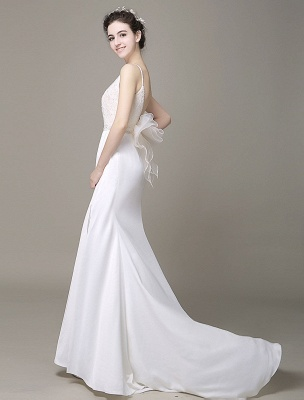 Satin Sheath Wedding Dress Plunging Neckline Bow Back Belt Lace Beading Evening Dress Exclusive_5
