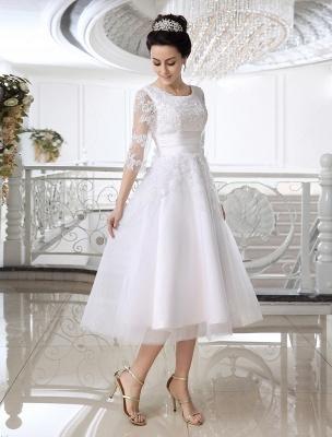 Einfache Brautkleider 2021 Kurze Spitze Applique Illusion Halbarm Tee Länge Brautkleid Exklusiv_2