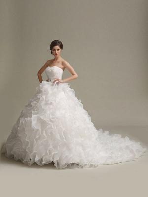 Brautkleider Prinzessin Ballkleider Trägerlos Schatz-Ausschnitt Plissee Rüschen Perlen Schärpe Tüll Elfenbein Brautkleid mit Zug_3