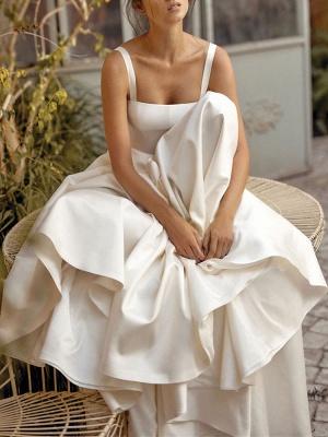 Vintage Brautkleider Square Neck Sleeveless Natural Waist Satin Stoff Gericht Zug Schärpe Brautkleid_2