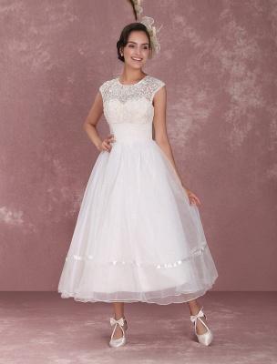 Mini robe de mariée élégante en filet à col rond_3