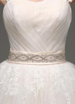Tulle Cap Sleeves Keyhole Back Princess Wedding Dress With Bow And Rhinestone Sash_7