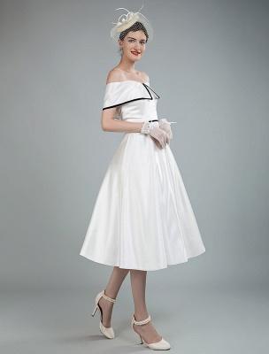 Vintage Brautkleider Satin Schulterfrei A Line Tee Länge Kurze Brautkleider Exklusiv_6