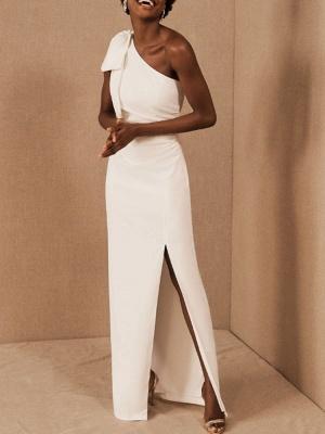 Einfache Brautkleider Mantel One Shoulder Ärmellose Schleifen Brautkleider_1