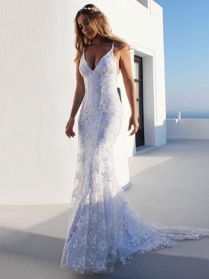 Vestido de novia de sirena sexy Vestidos de novia de encaje sin espalda con cuello en V blanco_1