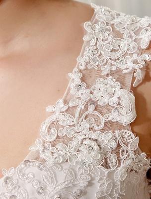 Strand Brautkleider Chiffon Elfenbein Brautkleid Spitze Perlen V-Ausschnitt Gericht Zug Sommer Brautkleid_8