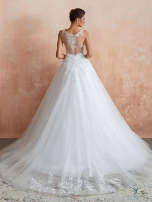 Wedding Dress 2021 V Neck Princess Sleeveless Floor Length Tulle Bridal Gown With Train_2