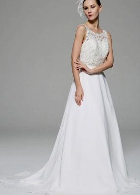 Ivory Wedding Dress Illusion Rhinestone Lace Satin Wedding Gown_3