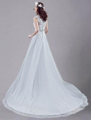 Weißes Hochzeitskleid Queen Anne Brautkleid mit Schärpe und Spitze_2