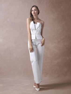 Wedding Jumpsuits Ivory Strapless Peplum Satin Bow Sash Long Bridal Jumpsuits Exclusive_4