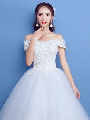 Robe de bal robe de mariée princesse silhouette parole longueur bateau cou manches courtes appliques tulle robes de mariée_2