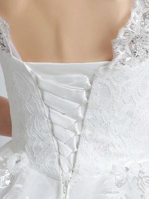 Prinzessin Brautkleider Elfenbein Backless Brautkleid Spitze Applique V-Ausschnitt Langer Zug Brautkleid_8