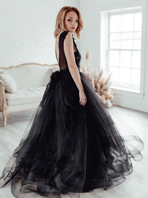 Black Bridal Dress A-Line Illusion Neckline Sleeveless Backless Applique Floor-Length Lace Tulle Bridal Gowns_3