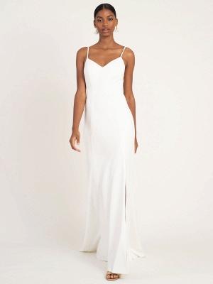 White Simple Wedding Dress Mermaid V-Neck Sleeveless Spaghetti Straps Natural Waist Satin Fabric Split Front Bridal Gowns_4