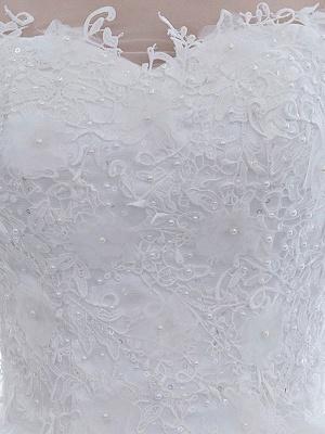 Elegante Brautkleider Weiß Schulterfrei Halbarm Weicher Tüll Lace Up Bodenlangen Brautkleider_6