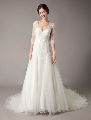 Wedding Dresses A Line Ivory V Neck Lace Tulle Half Sleeve Bridal Dress With Train_4
