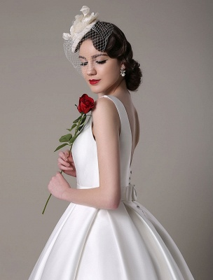 Ivory Wedding Dress Scoop Backless Knee Length Satin Wedding Gown Exclusive_13